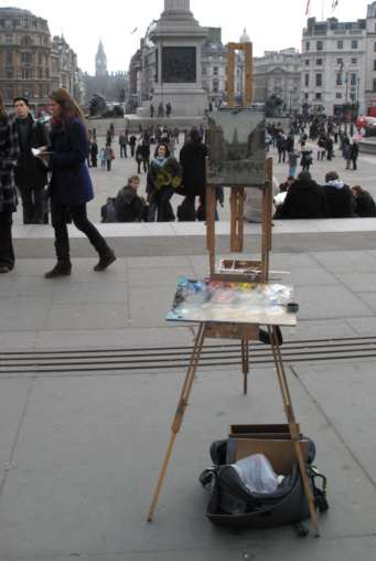 My easel in Trafalgar Square