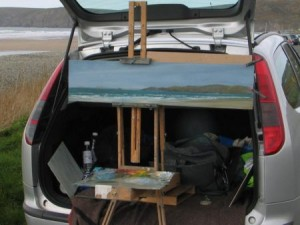 Painting at Newgale, Pembs.