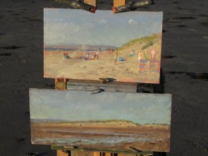 Paintings on my easel, 6 x10 and 5 x 12, oil on board